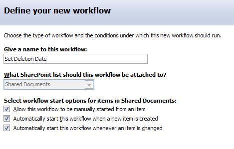Define workflow